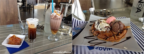 Greek style entertainment with freddo cappuccino, super calorie bomb cold chocolate, feta pastry and waffle