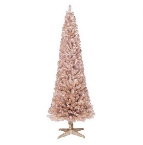 New 6 feet Prelit Artificial Christmas Tree Rose Gold Slim Alberta Clear Lights #Unbranded
