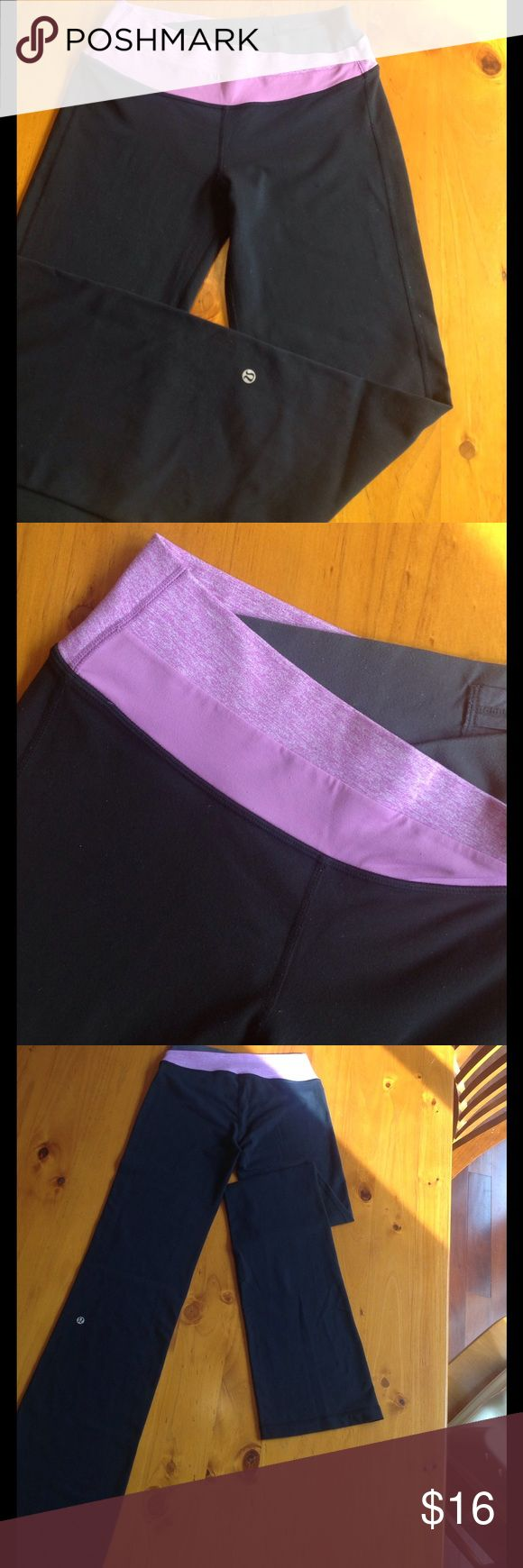Tall Yoga Pants Comfy, flattering, and made for us tall drinks of water! Wide, fold-down waistband, hidden interior pocket. Always line-dried. Light pilling. Lots of life left! lululemon athletica Pants