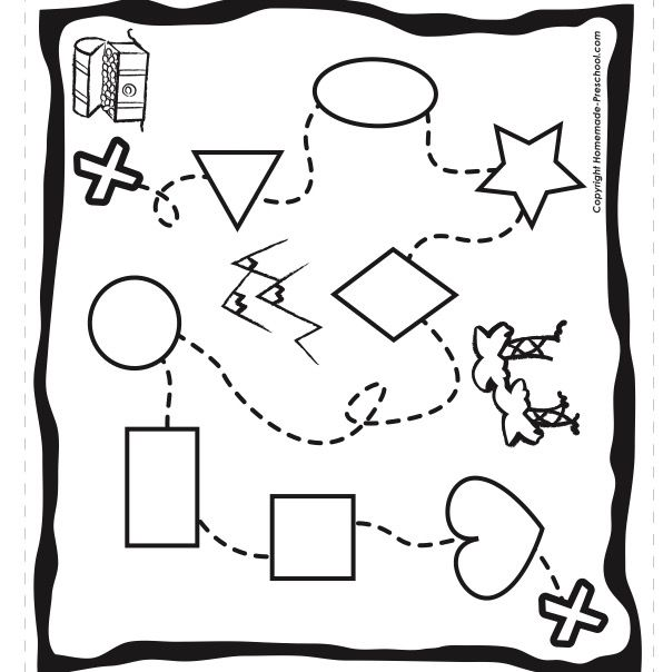 Pirate themed pirate shaped treasure map activity page