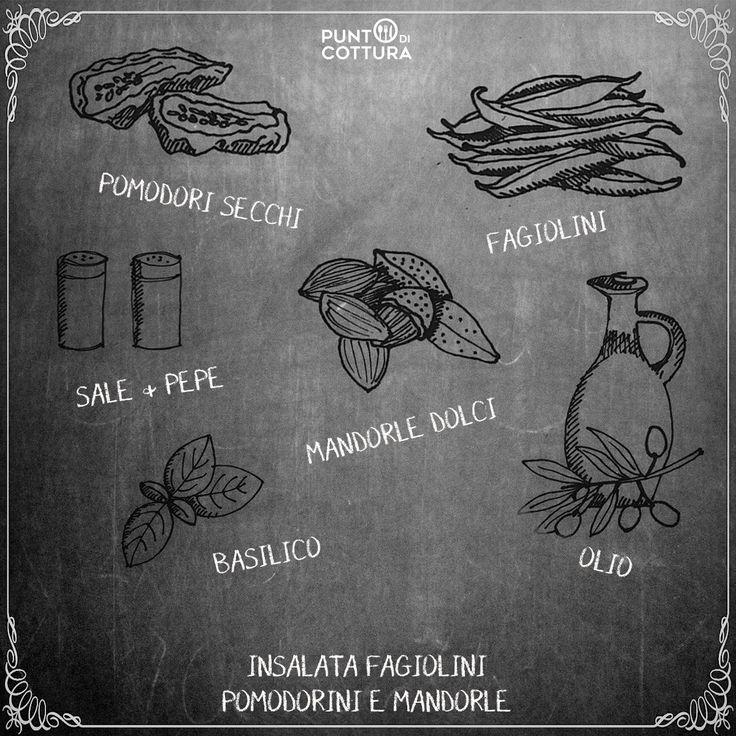 Ricetta: insalata di fagiolini pomodorini secchi, mandorle dolci, basilico, sale, pepe e olio