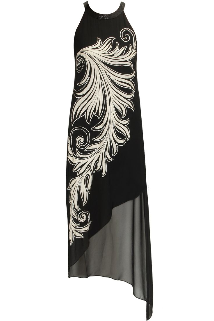 Black floral sequins embroidered swirl dress by Namrata Joshipura. Shop now: http://www.perniaspopupshop.com/designers/namrata-joshipura #shopnow #perniaspopupshop #namratajoshipura