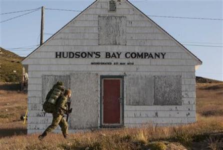 An old Hudson's Bay Company trading post. The Hudson's Bay Company was started in 1670 along the James and Hudson Bays. Natives would barter furs for trade goods such as knives, beads, needles and blankets. HBC company is in their 4th Century of retail and still going strong.