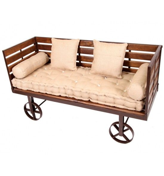 Wooden Sofa With Wheels, 160 X 60 X 80 Cm