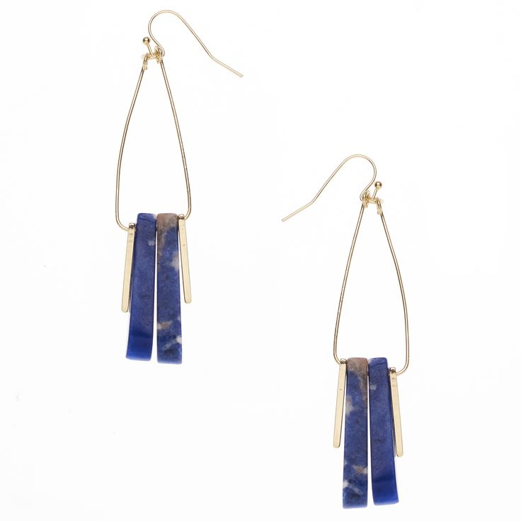 Buy the Ninsei Lapis Drop Earrings at Oliver Bonas. Enjoy free worldwide standard delivery for orders over £50.