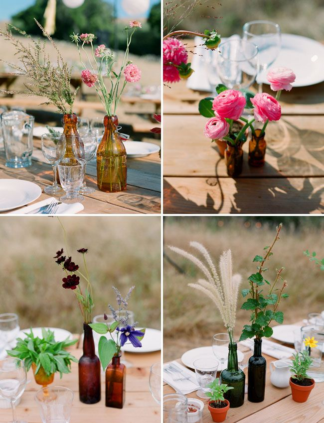 I love nothing more than mix-and-match bottles with mixed flowers and stems. Perfection.
