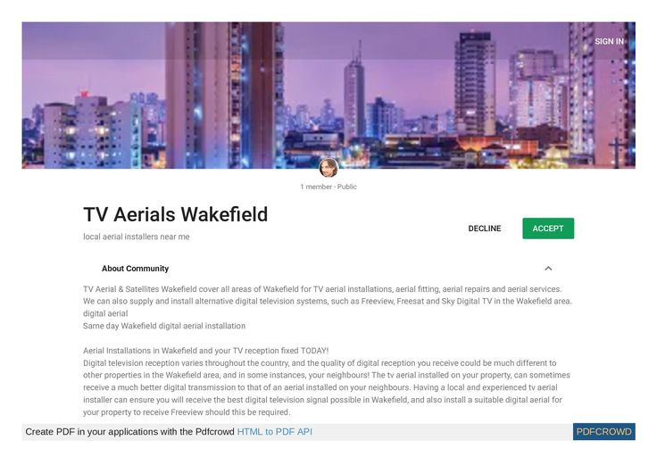 SIGN IN 1 member - Public TV Aerials Wake eld DECLINE ACCEPT local aerial installers near me About Community TV Aerial & Satellites Wake eld cover all areas of Wake eld for TV aerial installations, aerial tting, aerial repairs and aerial...