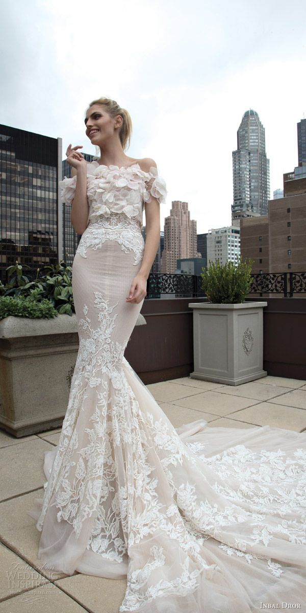 inbal dror 2016 wedding dress with strapless sweetheart lace mermaid wedding dress nude style 17 short sleeve floral topper