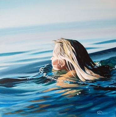 Artist Antoine Renault; Painting, Bain de soleil (Sun bath)