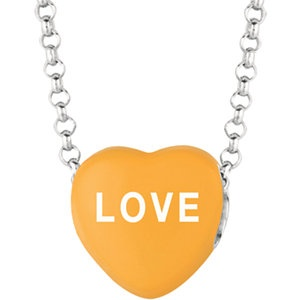 """Sweethearts® Orange Enamel """"Love"""" Heart on 16"""" Necklace with Gift Box 