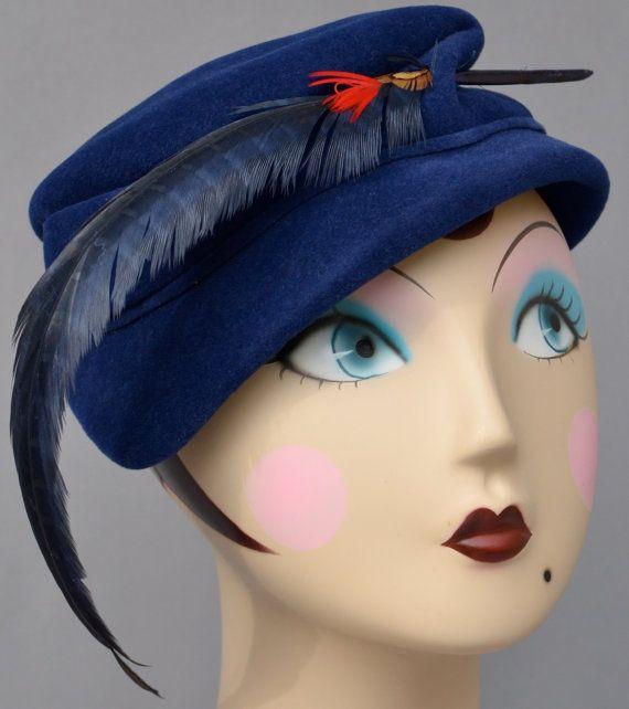 Vintage Handmade Hand blocked Blue Hat by MakowskyMillinery, $159.00