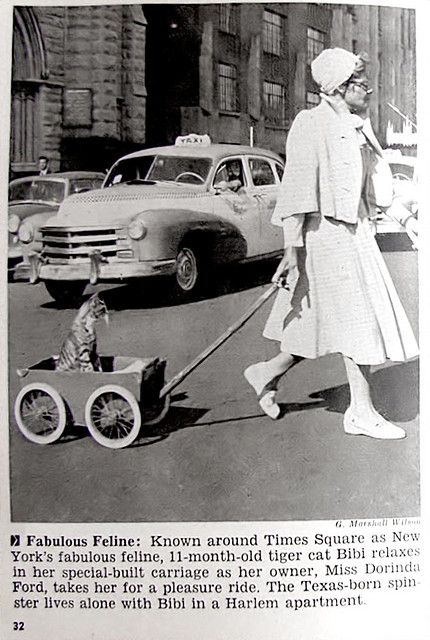 Spinster with cat (as per description) Times Square, Jet Magazine 1956