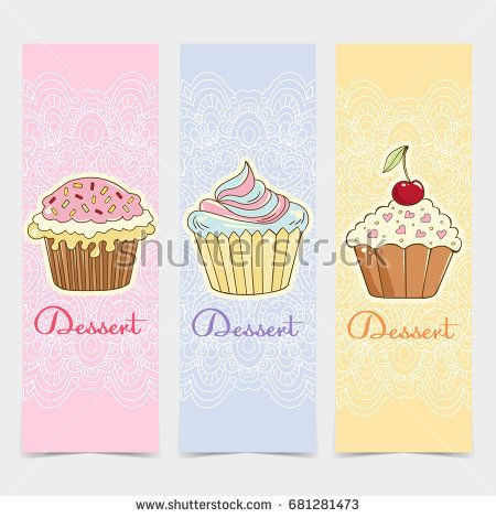 Cakes drawn in a vector in the style of pop art. The illustration can be used for design cafe, fast food restaurant, postcards, flayers, posters, etc.