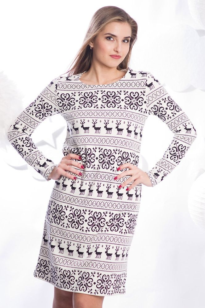 """Милое платье """"Аника"""" с принтом в скандинавском стиле от Foxy.  Цена 1090 рублей. Размеры от 40 до 52."""