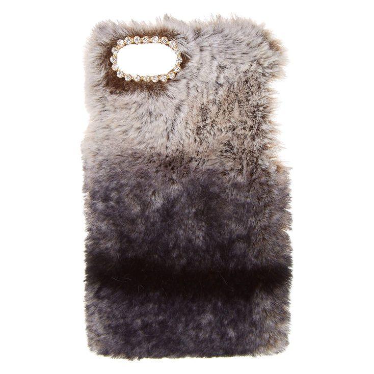 Black Faux Chinchilla Fur Phone Case