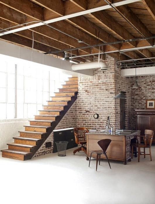 cegła drewno schody