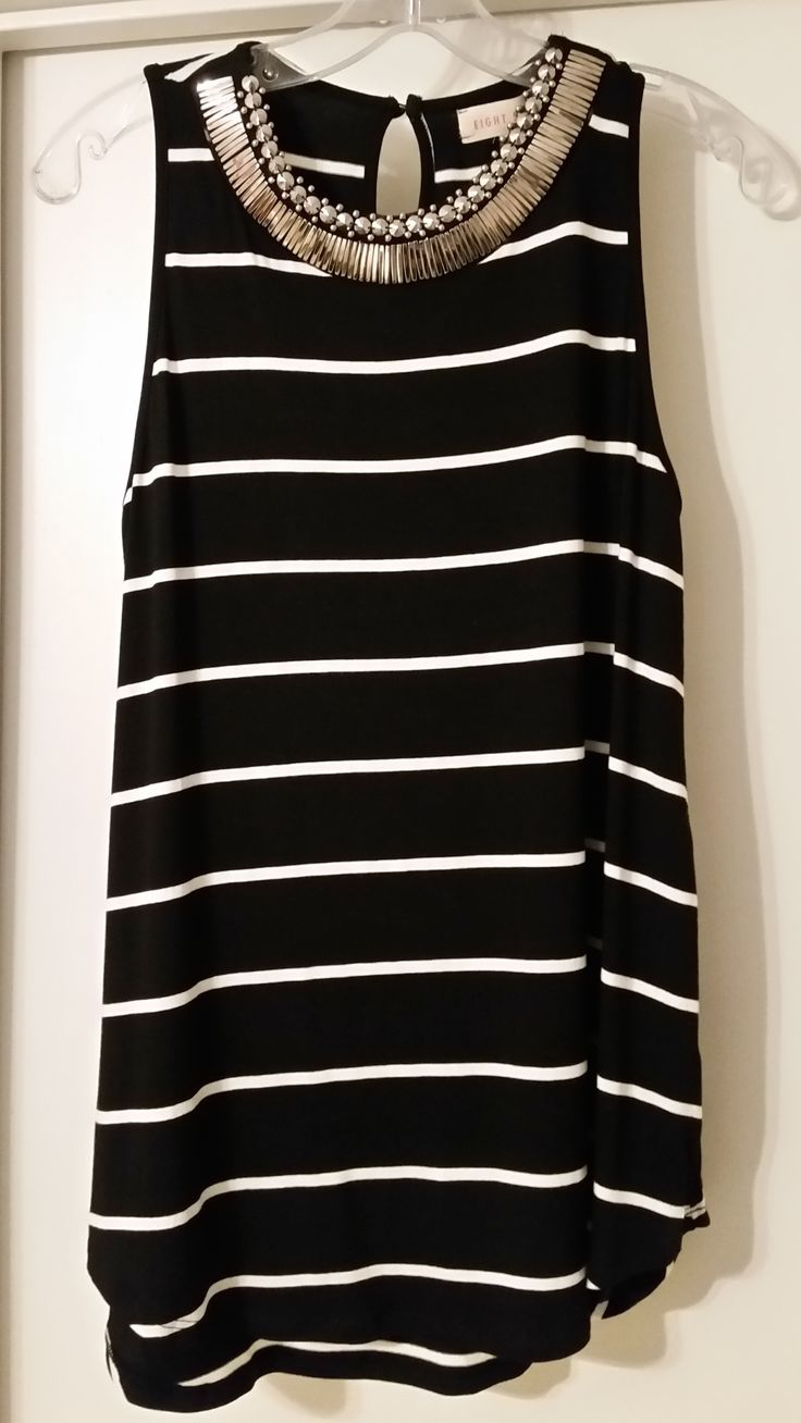 https://www.stitchfix.com/referral/4371189 Eight Sixty Ginsberg Metal Bib Striped Tank $68 #5224-628 (Black) {From #4 Stitch Fix March 2015 - Very comfortable and cute. Bib decoration is all metal, but the one I got was starting to tarnish and chip a bit.}