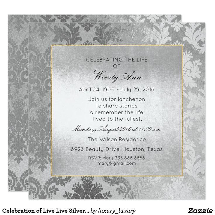 23 best celebration of live memory invitations images on celebration of live live silver damask card zazzle invitationsinvitation stopboris Image collections