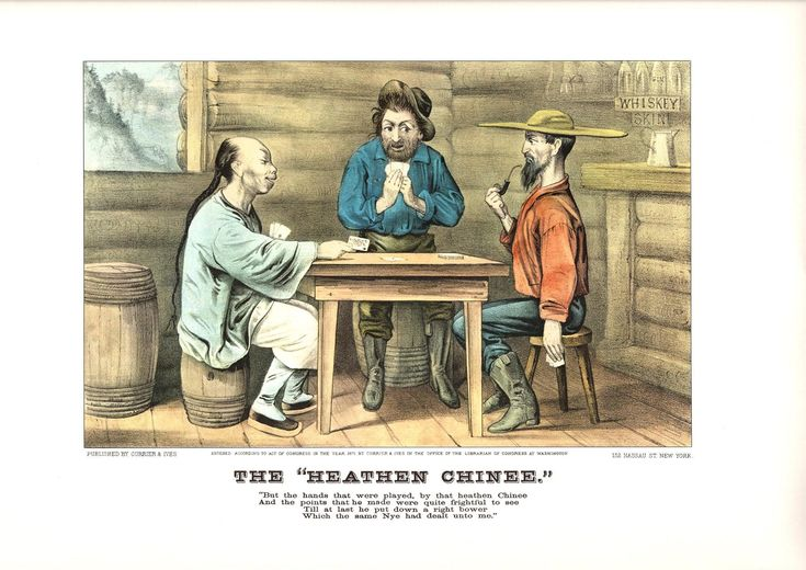 A large Currier and Ives print The Heathen Chinee. The page is approx. 18 3/4 inches wide and 14 inches tall. by Blossomprintsandmore on Etsy