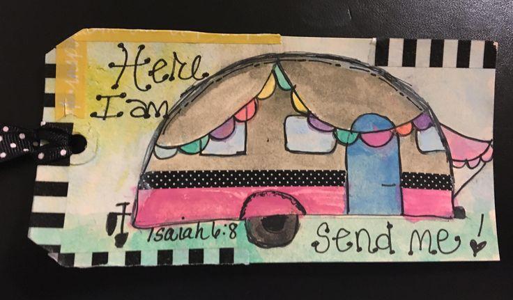 "Here I am, Send Me"" Isaiah 6:8 camper tag/card/bookmark by JoyfulNoiseStudios on Etsy"