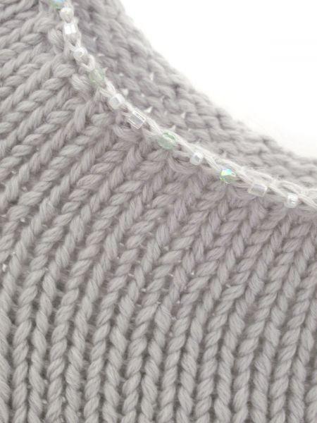 Pullover mit perlenverziertem Rundhalsausschnitt