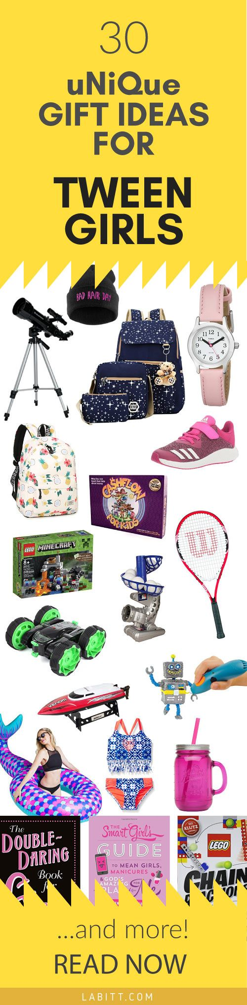 What do you think of this list of 30 Gift Ideas for Tween Girls? There are sports gifts, stem gifts, and other unique gifts for a tween girl aged 8-14. Cute presents for a young girl's birthday, Christmas, or just because.