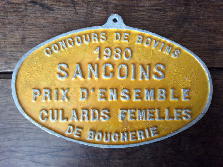 Vintage French agricultural farm beef cattle butchers competition yellow metal price trophy plaque 1980 Purchase in store here http://www.europeanvintageemporium.com/product/vintage-french-agricultural-farm-beef-cattle-butchers-competition-yellow-metal-price-trophy-plaque-1980/