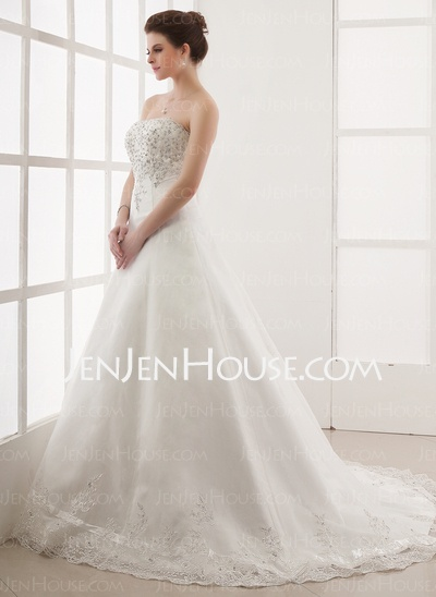 A-Line/Princess Sweetheart Chapel Train Satin Tulle Wedding Dresses With Lace Beadwork (002000179)