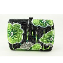 Kanada Heißer Verkauf Frau Handtasche Grüne Mini Box Clutch Bag Strass Blumen Kleine Kupplung Geldbörse Kristall Abendtaschen Billig Verkauf //Price: $US $64.90 & FREE Shipping //     #dazzup