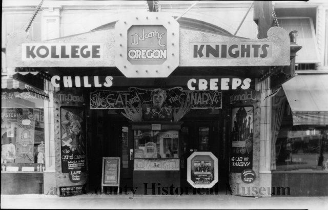 The McDonald Theater in Eugene, ca. 1927 -- George McMurphey's Kollege Knights band is the headliner!  From the collections of the Lane County Historical Society, Eugene, Oregon.