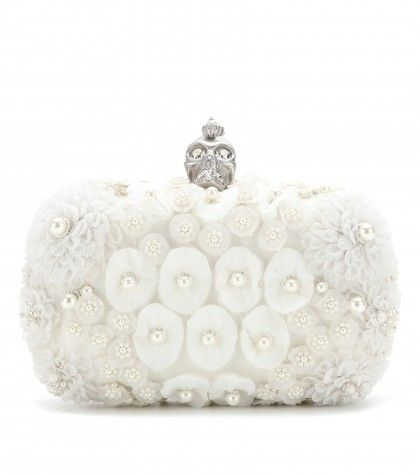 Alexander McQueen - Box clutch with floral appliqué and faux pearls  - mytheresa.com GmbH