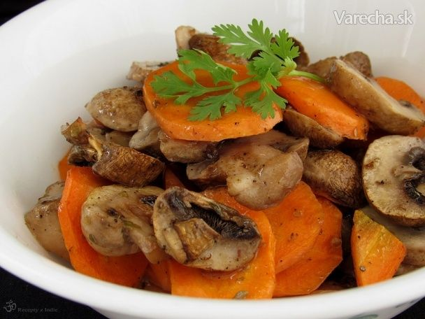 Pečená mrkva a šampiňóny - Recept
