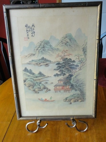 Vintage Framed Chinese Woodblock Silk Print By Unknown Artist