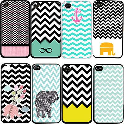 Fashion Chevron Print Cute Elephant Hard Plastic Case Cover for iPhone 4 4S 5