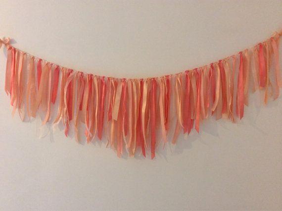 Peach & Light Coral Ribbon Garland.
