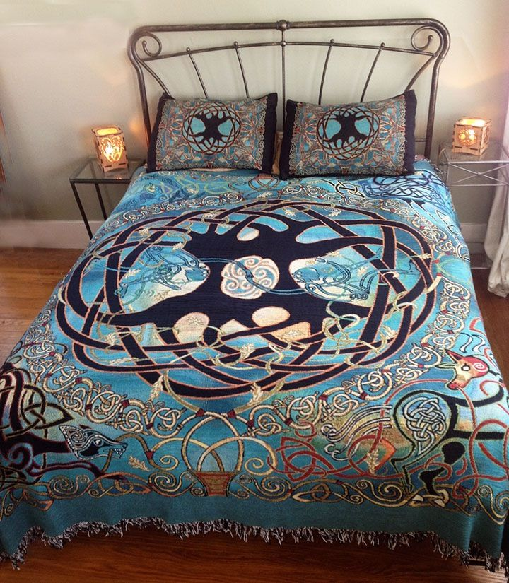 Tree of life celtic bed spread celtic home decor for Celtic decorations home