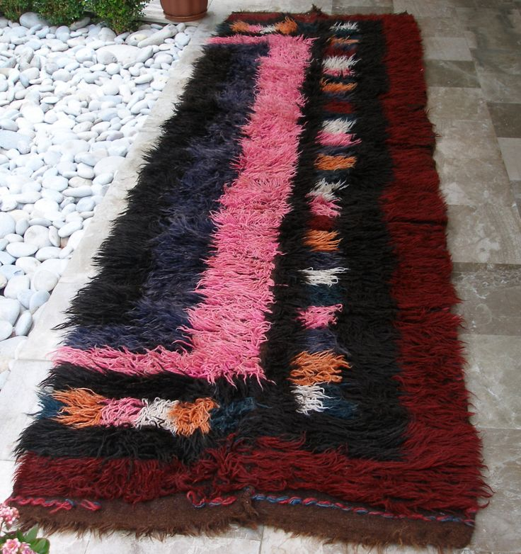 Antique Flokati Rug Runner Rare Tribal Large Nomadic Multicolour Shaggy Area Rug Extra Long 1900's 3X10.1 ft (88X307cm) Cottage chic - pinned by pin4etsy.com