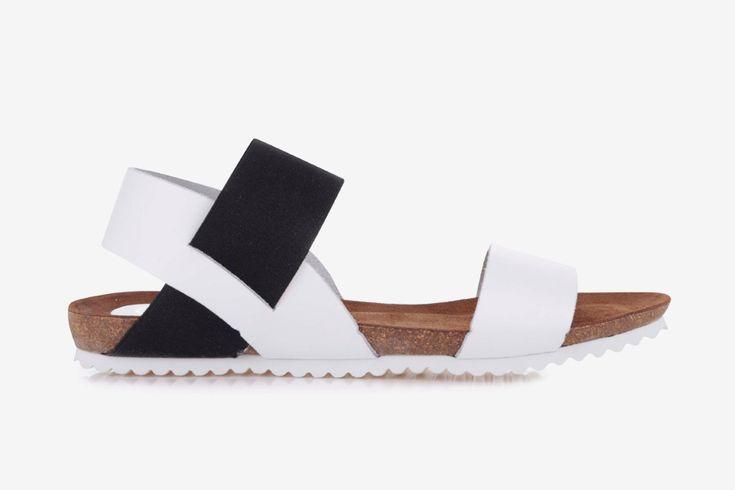 OJJU — dámské sandály — letní — bílé, černé — kožené, korková podrážka