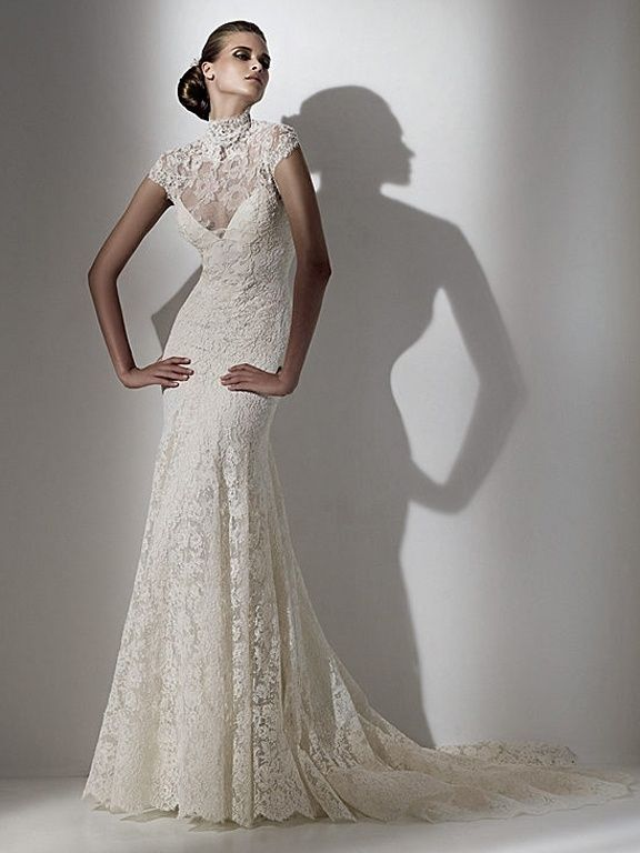 Fit and Flare, High Neck Sleeve, Lace Wedding Dres…