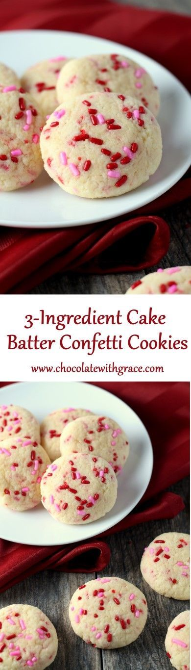 3-Ingredient Cake Batter Confetti Cookies - made with a cake mix. Perfect for Valentine's Day.
