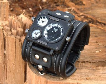 Mens Wrist Watch Leather Bracelet Pathfinder-2. by dganin on Etsy