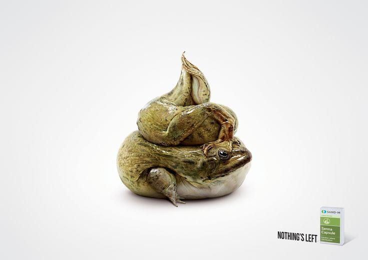 ウサギ、カエル、タコがあの形に。 便秘薬を訴求するアーティスティックなプリント広告 | AdGang:なかなか高度な感じ。ファニーでナマっぽい白地にポンって潔い眼を引くデザイン。タイの便秘薬の広告。
