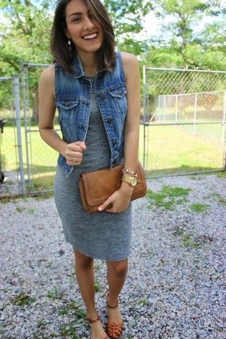 Women's Blue Denim Vest, Tan Leather Clutch, Tobacco Leather Gladiator Sandals, and Grey Bodycon Dress