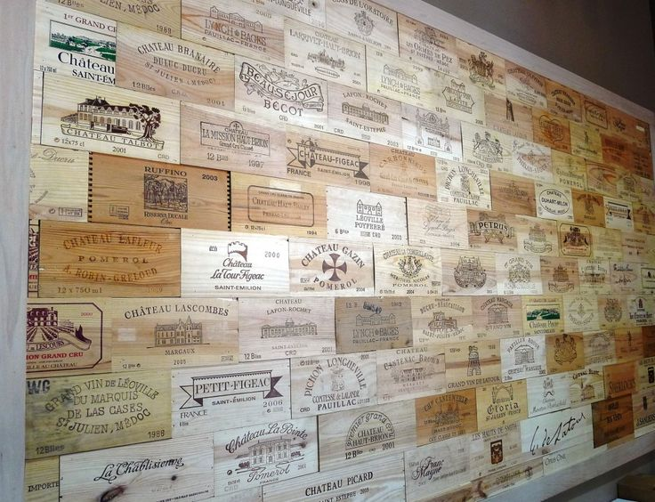 Wine crate end panel walls-Awesome! Would look great for a bar or wine cellar walls.