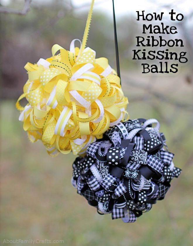 Ribbon kissing balls--make in green, red, & white for Christmas
