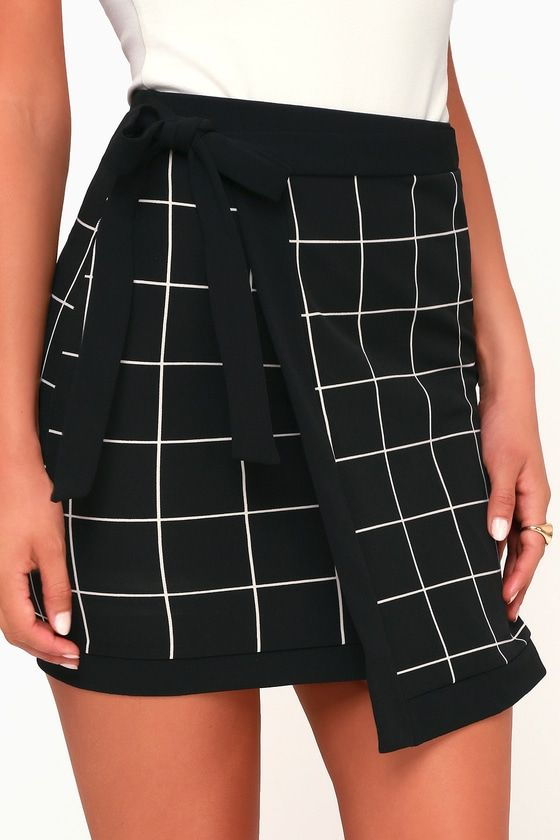 238a1c22b Grid Manners Black and White Grid Print Wrap Mini Skirt in 2019 ...
