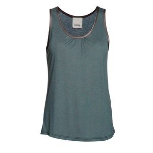 """SUST SILK top w gather, dark grey. Cool and extra soft top with wide straps and small gathers in the front. Beautiful and elegant. Limited.  Made from 80% bamboo and 20% silk in """"dead stock"""", which means that it's made from residues from other collections. Because of that, the top is limited."""