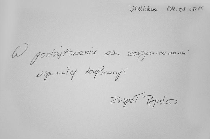 Wpis do księgi Gości po konferencji w Hotelu Lenart w Wieliczce