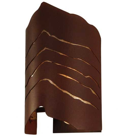 """10""""W Wavey Rustic Contemporary Wall Sconce"""