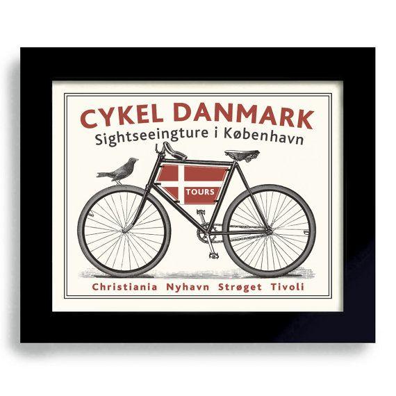 Danish Modern Decor Bicycle Art Denmark Art Copenhagen Bike Art Print Cycling…